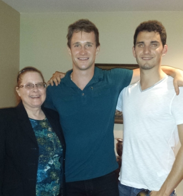 Here I am with actor Ben Davies and friend Roman, at my graduation party.